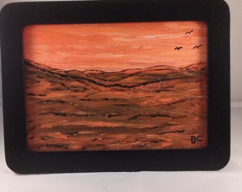 Small Framed Oil Desert Painting