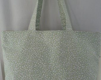 Beach BAG, Extra Large Tote, Pool BAG, Diaper BAG, Knitting Bag, Work Purse, Gym Bag, Shopping Bag, Green and White