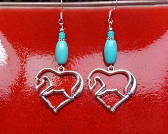 Turquoise Heart Horse Earrings, Turquoise Horse Heart Sterling Silver Earrings, Horse Sterling Earrings, Blue Horse Earrings, Horse Earrings