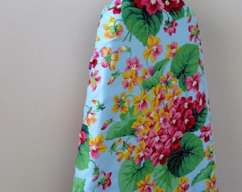 Ironing Board Cover - pretty yellow and pink flowers on sky blue