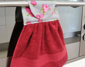 Hanging Hand Towel - burgundy with prtty pink and deep pink flowers on grey