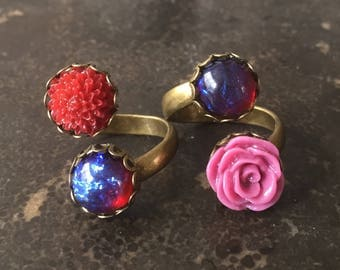 Fire Red Opal Wrap Ring Bohemian Brass Adjustable Rings Crimson Red Mum Flower or Violet Purple Rose