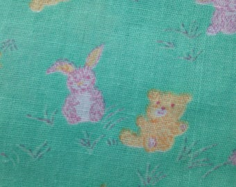 Vintage Nursery Baby Fabric Material Cotton Bunny Teddy Bear Mint Green