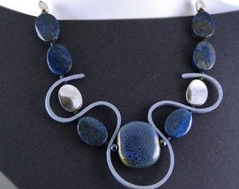 Blue Statement Necklace . Lapis Lazuli.