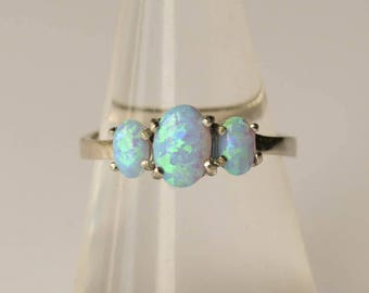 Opal Ring, Sterling Silver Vintage Ring, Size 6, Mother's Day Gift