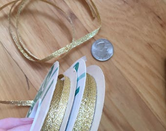 "20 yards Luster Gold braided Ribbon trim. 3/16"" wide narrow. Metallic Vintage supply sheen/bow/gifts/decorating/floral"