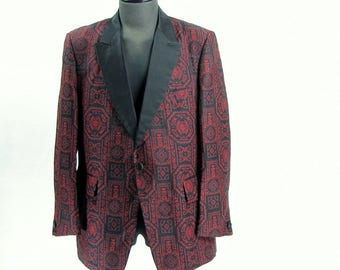 Vintage Deep Red and Black Brocade Tux and Smoking Jacket