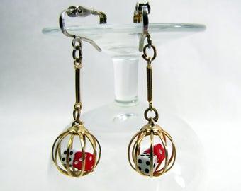 Fun Vintage Dangle Dice Earrings