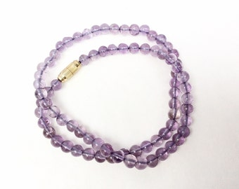 beaded Amethyst Necklace small round beads short strand vintage necklace