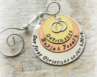 Our First Christmas / As Mr. And Mrs. / Ornament / Engagement / Wedding Rings Charm / Personalized / Couples Names / Wedding Date D014