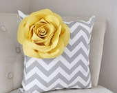 SALE Mellow Yellow Corner Rose on Gray and White Zigzag Pillow 14 X 14 -Chevron Flower Pillow- Zig Zag Pillows