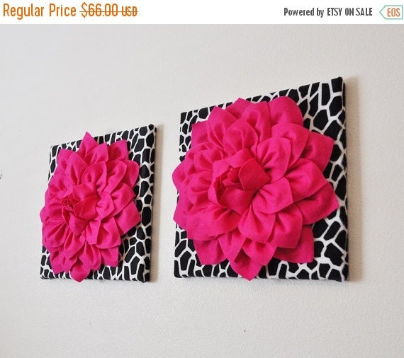 sale set of two wall art hot pink dahlia flowers on by