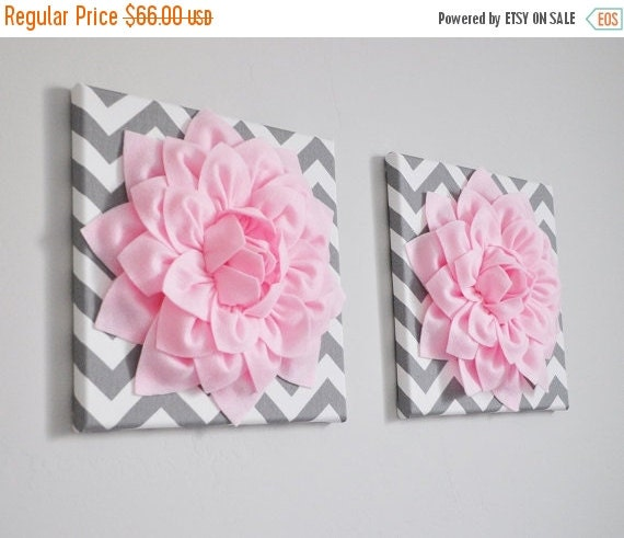 """SALE TWO Wall Flowers -Light Pink Dahlia on Gray and White Chevron 12 x12"""" Canvas Wall Art- Baby Nursery Wall Decor-"""