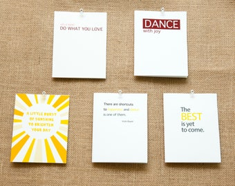 Pack of 5, 10, or 20 Encouragement Cards Inspirational Happiness Dance with Joy The Best is Yet to Come Burst of Sunshine Do What You Love