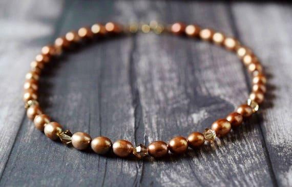 Bronze Freshwater Pearl Necklace Golden Brown Necklace Rose Gold Filled Swarovski Crystal Neutral Golden Choker Bridal Jewelry Wedding Gift