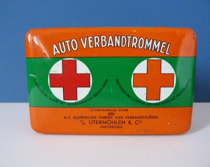 First aid metal storage tin for the car