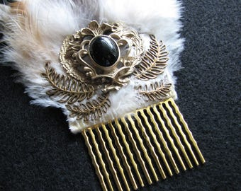 Leaf hair comb | vintage headpiece | brass | Grecian | nature inspired | laurel wreath | bridal