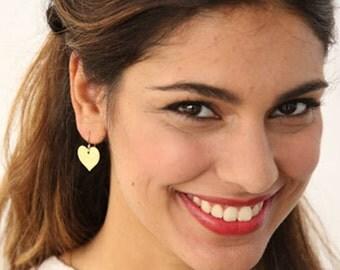 Heart Dangle Earring, Heart Earrings, Heart Jewelry, Gold Heart Earrings, Love Gold Earring, Romantic earrings, Statement Earringgs, Amore