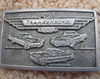 Thunderbird Buckle, Vintage Belt Buckle, Ford Thunderbird, T Birt, 57 Thunderbird