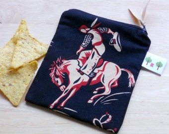"Reusable Snack Sack, Mini Size - 5"" x 5""- Machine Washable, Zippered, EcoFriendly, Kid friendly, Cowboy Motif"