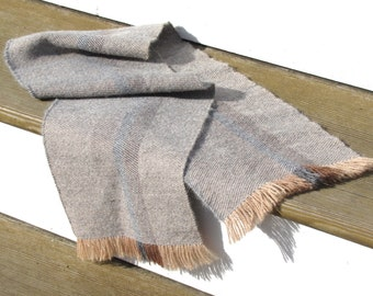 Gray Brown Stripe Hand Woven Alpaca Scarf Fall Winter Outdoor Fashion Clothing Gift, Rustic Mens Womens Accessories, Artisan Handmade in USA