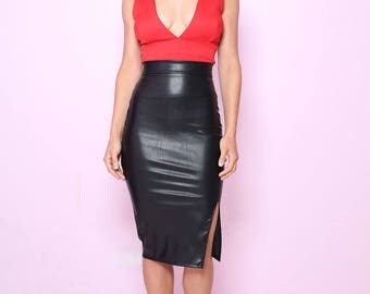 Kitty Pencil Skirt in Black faux Leather