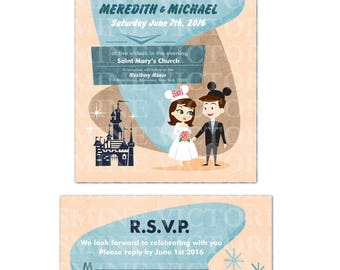 Retro Disney inspired Bride and Groom Wedding invitation (You pick Gown and Hair)