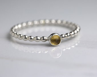 Tiny citrine ring, November birthstone ring, silver stacking ring, November birthday gift for her- Juliet