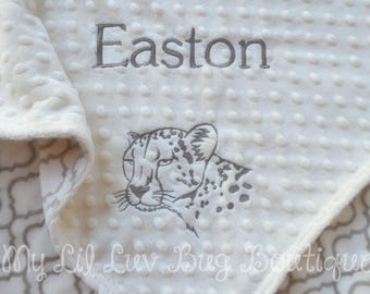 baby blankets personalized - cougar baby blanket - baby gifts personalized - monogrammed baby - gender neutral balnket - baby shower gift