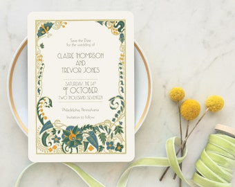 Save the Date Cards, Greenery Wedding, Art Deco Save the Date, Floral Save the Date, Vintage Wedding, Tropical Wedding - Jade Mandevilla