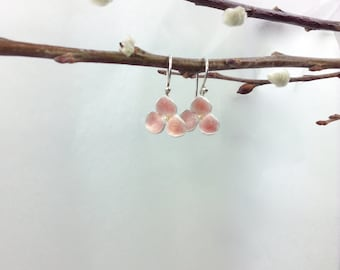 Pink hydrangea earrings - silver