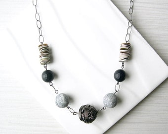 Beaded Stone Necklace, Black Onyx, Grey Jasper, Shell Jewlery, Neutral, Marble Look, Wire Wrapped Silver, Semiprecious, Adjustable, Mixed