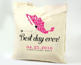 "ZIVA Swag Bag Custom Canvas Tote ""Best Day Ever"" Papel Picado Map of Mexico"