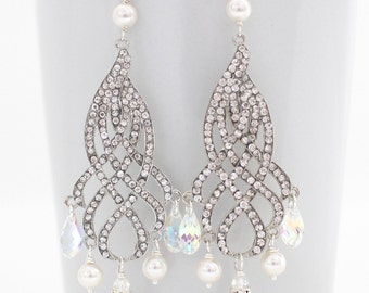 Crystal Wedding Earrings Chandelier Style, Brides Crystal Earrings,  Bridal Earrings, Wedding Earrings,