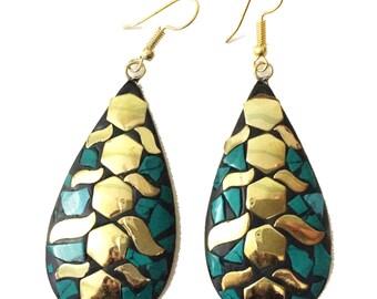 Nepal Turquoise Earrings, Mosaic Nepal Jewelry,Vintage Gold,Antique Earrings,Tibetan jewelry,Afghan Jewelry by Taneesi