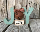 Joy to the world jingle bell wood block set hand made christmas gift home seasonal decor