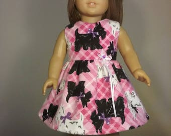 18 inch Doll Clothes Pink Terrier Dog Print Dress fits American Girl Doll Clothes Handmade