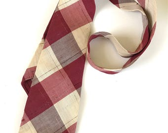Vintage Beau Brummell Palm Beach 4 Fold Faded Red & Cream Plaid Necktie 1938