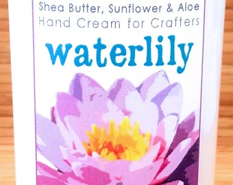 Waterlily Scented Hand Cream for Knitters - 4oz Medium HAPPY HANDS Shea Butter Hand Lotion Paraben-Free Light Floral Fragrance