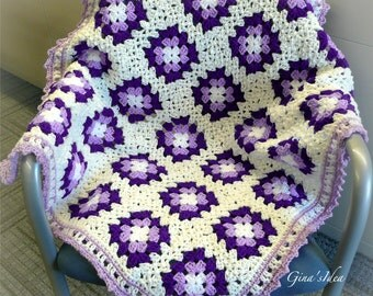 "Crochet BABY BLANKET AFGHAN Lap Granny Squares Soft Warm White Lilac  35"" x 30"" Girl Boy"