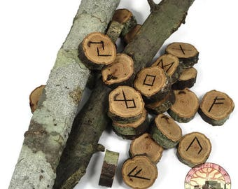 River Oak wood Rune Set Elder Futhark with Manual & Pouch Hand Carved