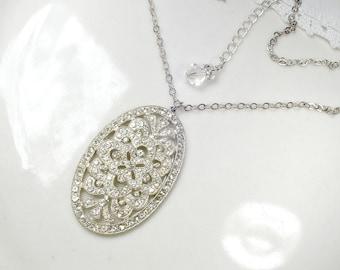 Original Art Deco Paste Rhinestone Flapper Necklace, 1920 Antique Nouveau Silver Pendant Vintage Bridal Great GATSBY Jewelry Downton Abbey