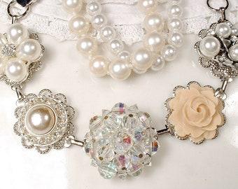 OOAK Crystal, Ivory & Champagne Pearl, Rhinestone Bridal Bracelet, Silver Vintage Wedding Earring Bracelet, Bridesmaid Gift Hollywood Glam