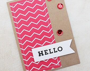 Homemade Card- Hello - Sewn
