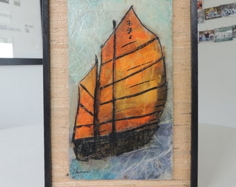 Mid Century abstract painting asian boat