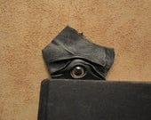 Grichels leather bookmark - black with rosy gold fish eye
