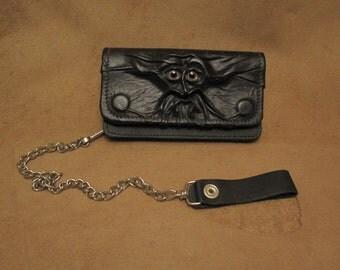 Grichels leather billfold biker chain wallet - black with custom pink eyes