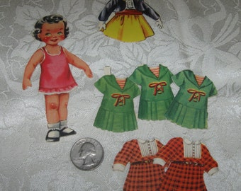 Vintage Tiny Little Girl Paper Doll Dress Clothes Outfits