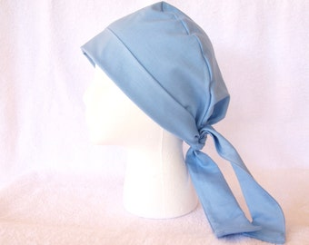 Scrub Hat for Women - Surgical Scrub Hat, Basic, Simple, Tie Back Cap Scrub Blue, Classic Blue
