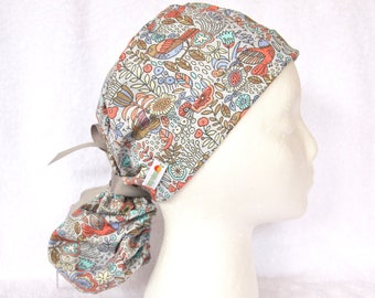 OR Scrub Hat Ponytail, PonyTail Scrub Hat, PonyTail Surgical Hat, Scrub Cap, Birds and Leaves on Grey Background